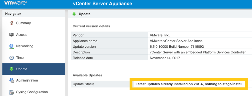 Unable to update VCSA to 6 5 u2d – Virtual Nowhere